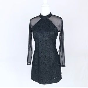 W Worth navy faux leather dress sheer laser cut